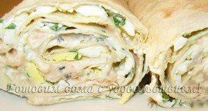 Рулет из армянского лаваша с консервированным тунцом или отварной рыбой - рецепты закуски на скорую руку