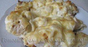 Пикша запеченная под сыром в духовке