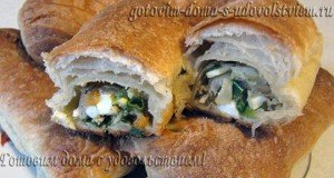 Пирожки с кислой капустой, яйцом и зеленым луком из слоеного теста