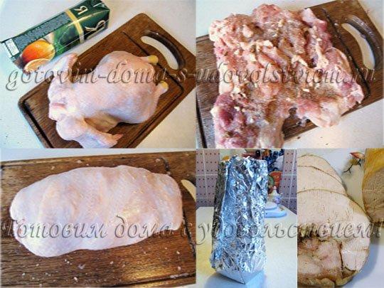 Куриный рулет рецепт с желатином в пакете