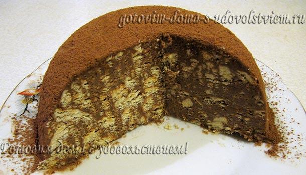 Торт без выпечки с сгущенным молоком и печеньем