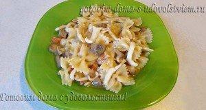 макароны с кальмарами и грибами