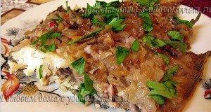 Камбала запеченная в духовке в орехово-гранатовом соусе