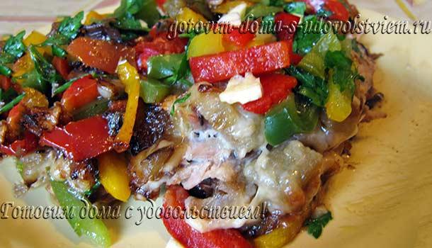 Скумбрия запеченная с овощами в духовке