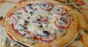 пицца на лаваше в микроволновке