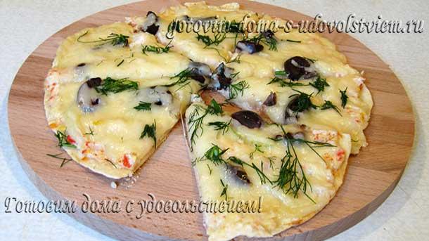 пицца на лаваше на сковороде