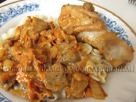 курица с грибами в сметанном соусе рецепт с фото