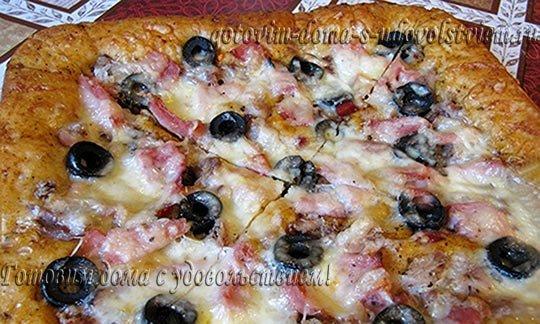 Рецепт мясной пиццы в духовке на дрожжевом тесте