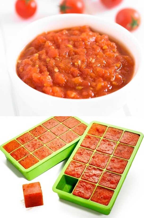 заморозить томатную пасту